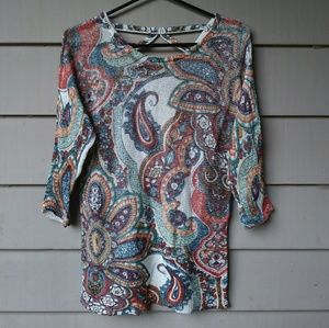 Chicks Paisley Sweater Blouse